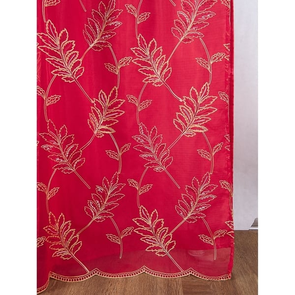 Burton Floral Embroidered Single Rod Pocket Curtain Panel W Attached Valance 54 X 90 In 54 X 90 In Overstock 29923065 Lilac