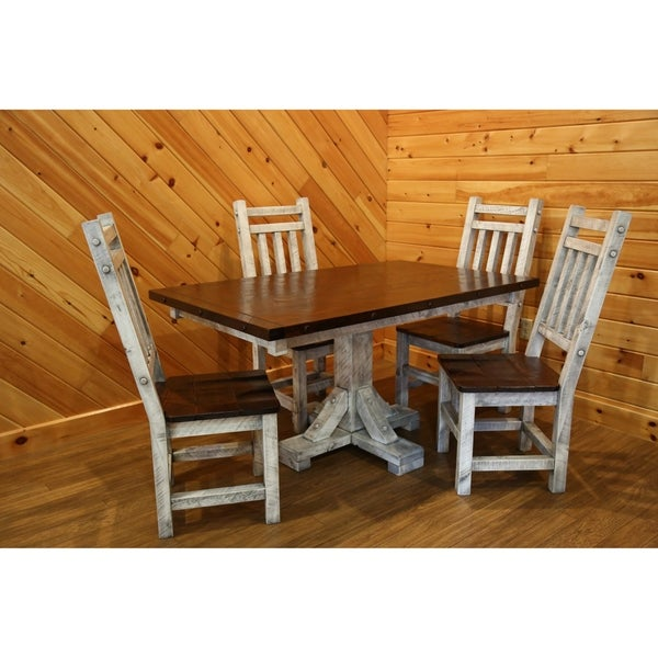 Dining Set - Barnwood Style Timber Peg - Pedestal Dining Table and 4 High Back Dining Chairs