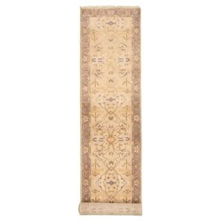 Hand-knotted Royal Ushak Beige Rug - ECARPETGALLERY - 2'7 x 13'10
