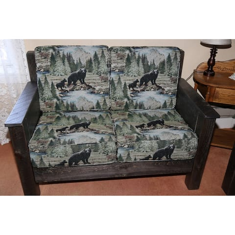Barnwood Style Timber Peg - Love Seat with Cushions