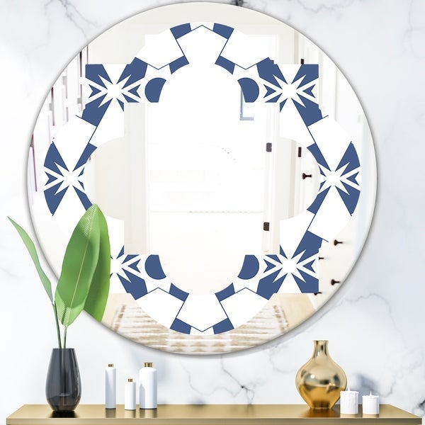 Designart 'Abstract Retro Geometrical Design I' Modern Round or Oval Wall Mirror - Quatrefoil