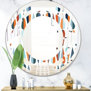 Designart 'Retro Abstract Drops V' Modern Round or Oval Wall Mirror - Space
