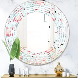 Designart 'Tropical Botanicals, Flowers and Flamingo III' Modern Round or Oval Wall Mirror - Wave