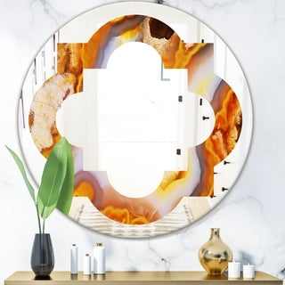 Designart 'Fire With Rrystals' Modern Round or Oval Wall Mirror - Quatrefoil