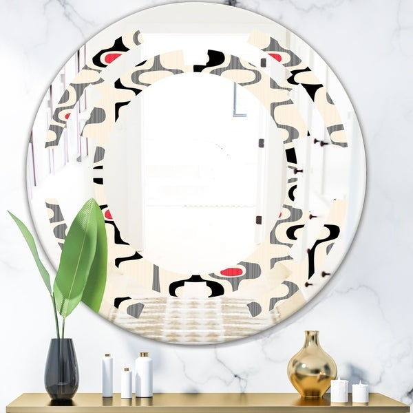 Designart 'Retro Abstract Design IX' Modern Round or Oval Wall Mirror - Space