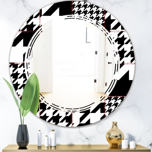 Designart 'Classic Houndstooth Pattern' Modern Round or Oval Wall Mirror - Triple C
