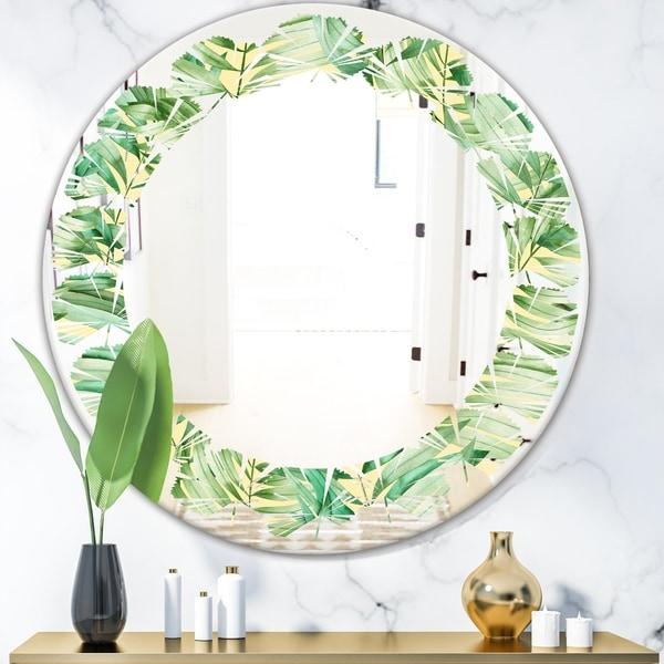 Designart 'Tropical Retro Foliage' Modern Round or Oval Wall Mirror - Leaves