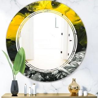 Designart 'Marbled Yellow 4' Modern Round or Oval Wall Mirror - Triple C
