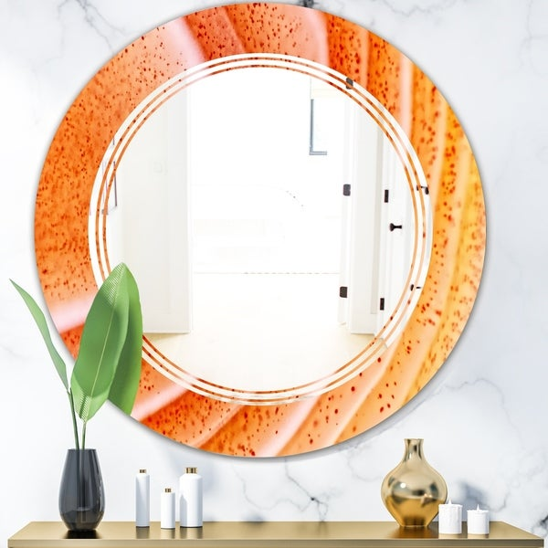 Designart 'Kazakhstan Red agate macro' Modern Round or Oval Wall Mirror - Triple C