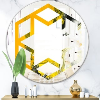 Designart 'Marbled Yellow 6' Modern Round or Oval Wall Mirror - Hexagon Star