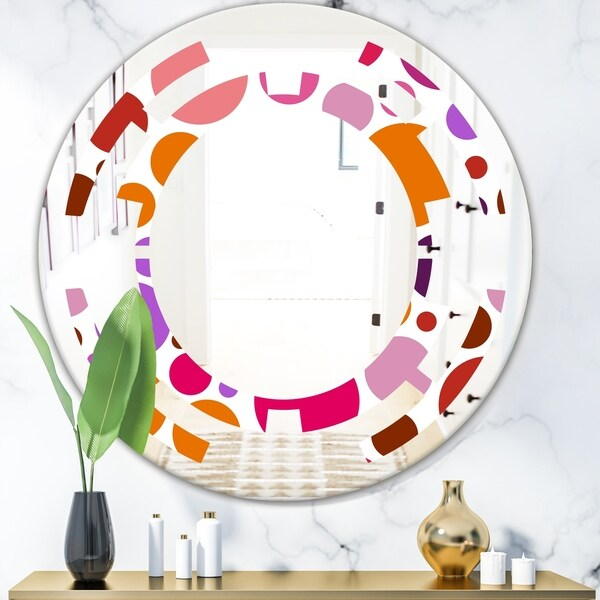 Designart 'Abstract Geometric Circular Retro II' Modern Round or Oval Wall Mirror - Space