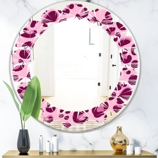 Designart 'Pink Leopard Pattern' Modern Round or Oval Wall Mirror - Leaves