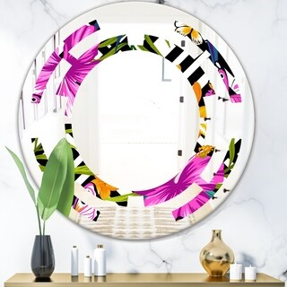 Designart 'Tropical Foliage and Geometrics' Modern Round or Oval Wall Mirror - Space - Multi