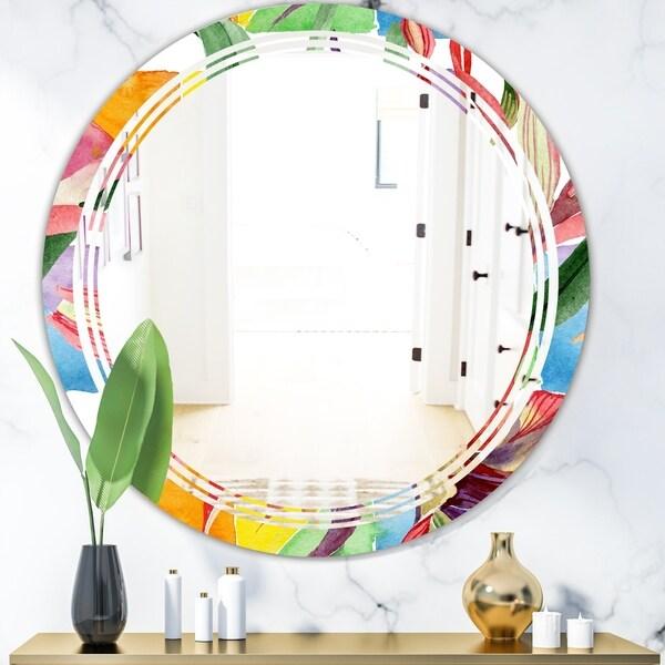 Designart 'Retro Floral Botanical I' Cottage Round or Oval Wall Mirror - Triple C