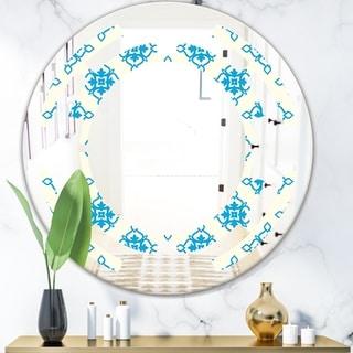 Designart 'Retro Ornamental Pattern I' Modern Round or Oval Wall Mirror - Space