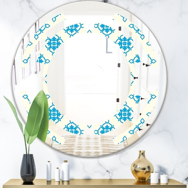Designart 'Retro Ornamental Pattern I' Modern Round or Oval Wall Mirror - Space