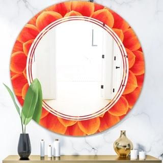 Designart 'Abstract Orange Flower Design' Modern Round or Oval Wall Mirror - Triple C