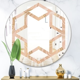 Designart 'Rose Gold Abstract Geometry Luxury' Modern Round or Oval Wall Mirror - Hexagon Star