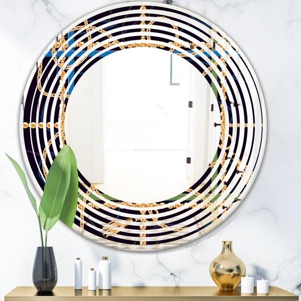 Designart 'Trendy Gold Chain Pattern' Modern Round or Oval Wall Mirror - Wave
