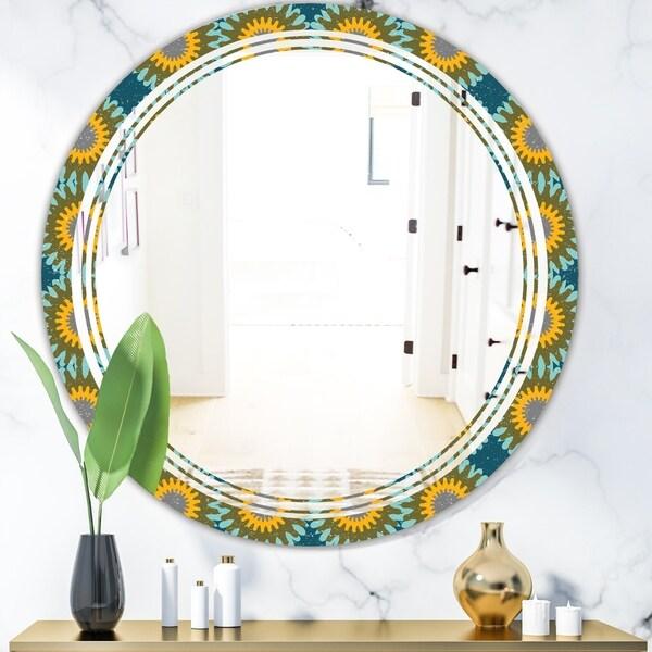 Designart 'Retro Circular Pattern I' Cottage Round or Oval Wall Mirror - Triple C