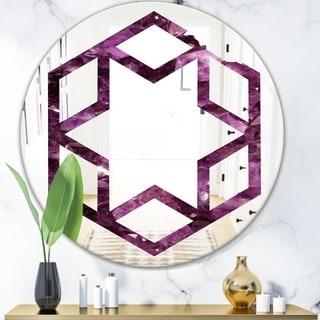 Designart 'Purple Gems' Modern Round or Oval Wall Mirror - Hexagon Star
