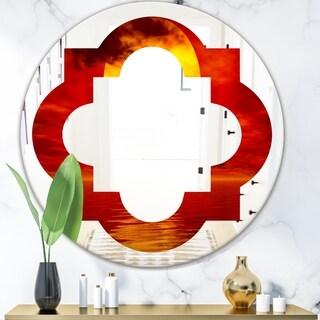 Designart 'Golden Sun Sinking in Red Waters' Modern Round or Oval Wall Mirror - Quatrefoil