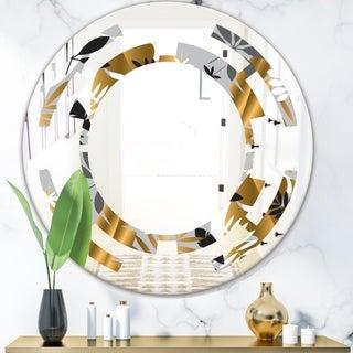 Designart 'Geometric luxury jungle foliage pattern' Modern Round or Oval Wall Mirror - Space