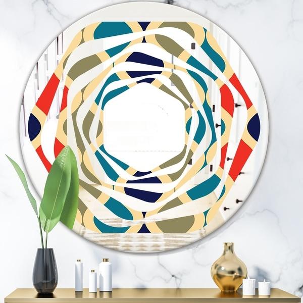 Designart 'Retro Ornamental Design VI' Modern Round or Oval Wall Mirror - Whirl - Multi