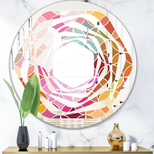 Designart 'Geometrical Retro Design II' Modern Round or Oval Wall Mirror - Whirl