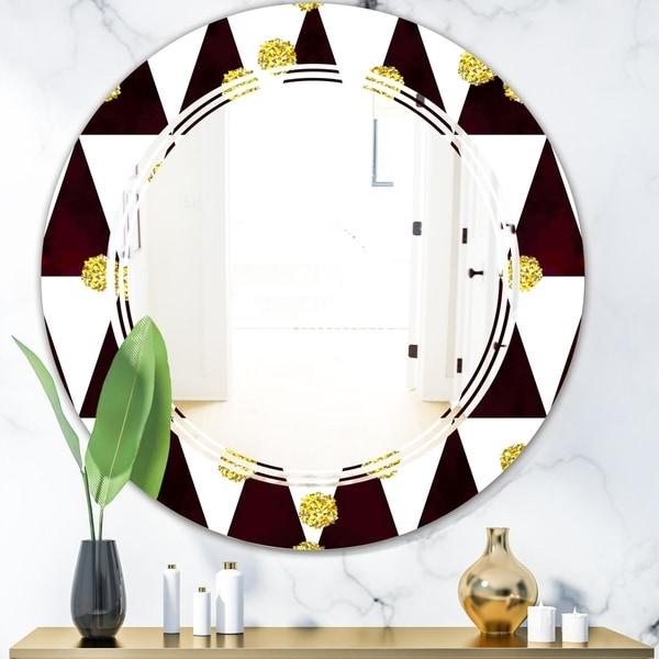 Designart 'Gold Polka Dot Pattern II' Modern Round or Oval Wall Mirror - Triple C