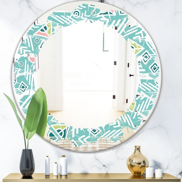 Designart 'Pastel Tribal Retro Pattern' Modern Round or Oval Wall Mirror - Leaves