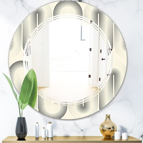 Designart 'Retro Curved Minimal Geometric Ornament I' Modern Round or Oval Wall Mirror - Triple C