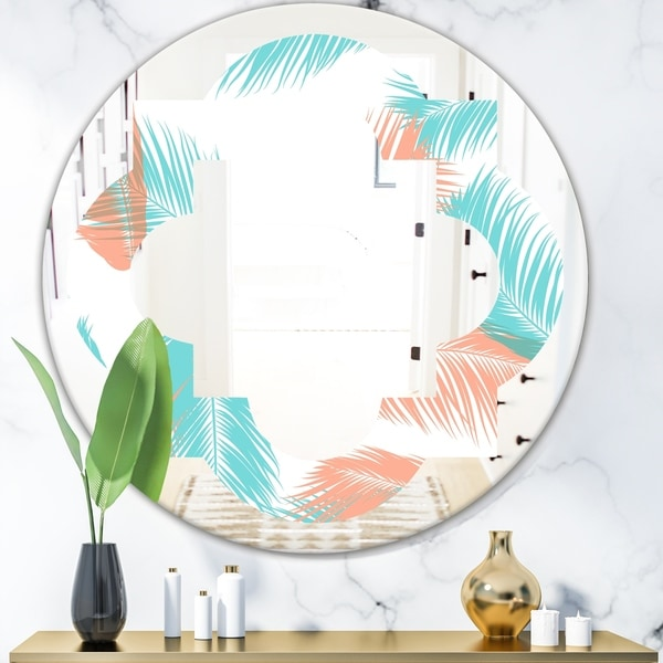 Designart 'Retro Tropical Foliage II' Modern Round or Oval Wall Mirror - Quatrefoil - Multi
