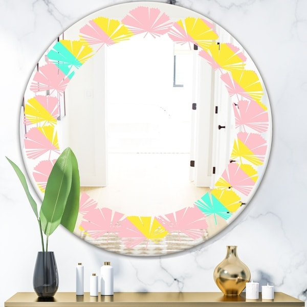 Designart 'Memphis Retro Neon Pattern' Modern Round or Oval Wall Mirror - Leaves