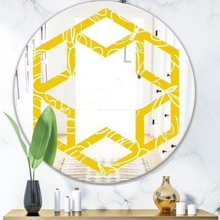 Designart 'Butterflies hand drawn color pattern' Modern Round or Oval Wall Mirror - Hexagon Star