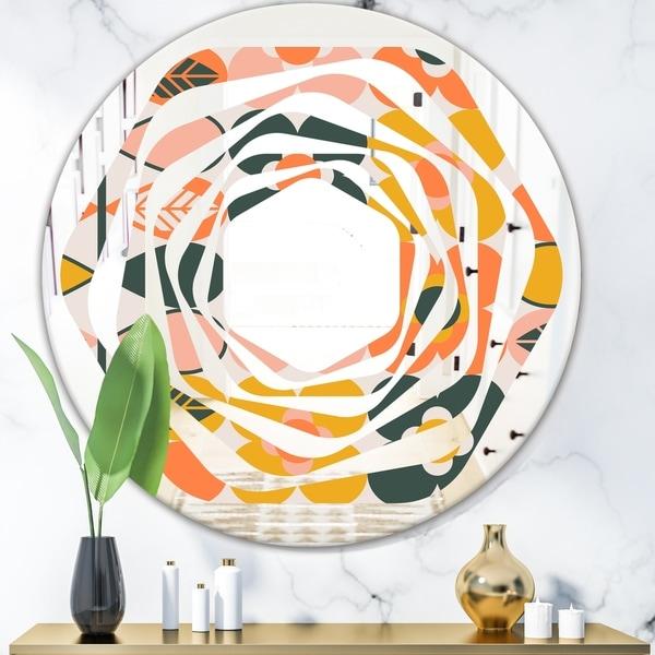 Designart 'Botanical Retro Design II' Modern Round or Oval Wall Mirror - Whirl - Multi