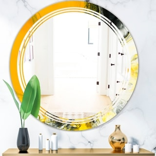 Designart 'Marbled Yellow 6' Modern Round or Oval Wall Mirror - Triple C