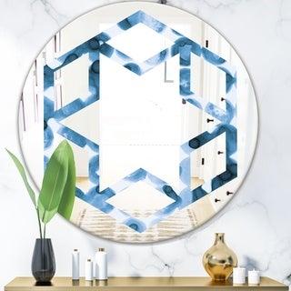 Designart 'Indigo watercolor geometrical VI' Modern Round or Oval Wall Mirror - Hexagon Star