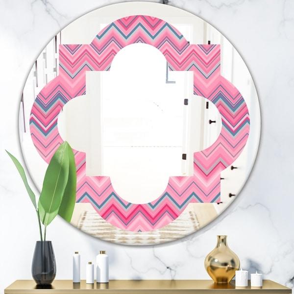 Designart 'Abstract Retro Geometric III' Modern Round or Oval Wall Mirror - Quatrefoil