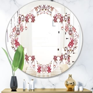 Designart 'Ornamental Retro Pattern' Modern Round or Oval Wall Mirror - Quatrefoil