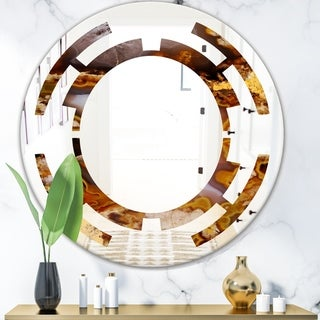 Designart 'Sand Close Up' Modern Round or Oval Wall Mirror - Space