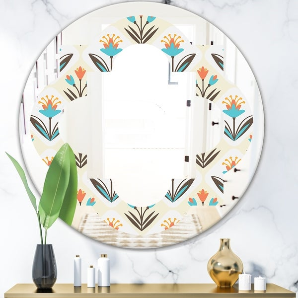 Designart 'Pattern with floral ornament' Cottage Round or Oval Wall Mirror - Quatrefoil