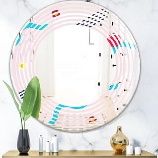 Designart 'Retro Geometrical Abstract Pattern III' Modern Round or Oval Wall Mirror - Wave