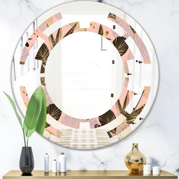 Designart 'Golden Foliage III' Modern Round or Oval Wall Mirror - Space
