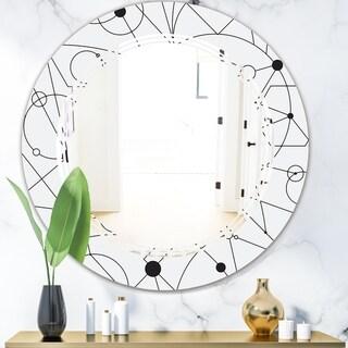 Designart 'Retro Geometric Grid III' Modern Round or Oval Wall Mirror - Triple C