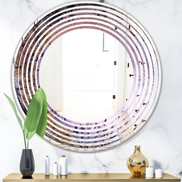 Designart 'Crystal Dendrite macro' Modern Round or Oval Wall Mirror - Wave
