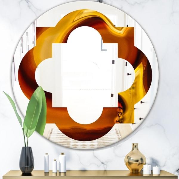 Designart 'Agate Geode Slice Macro' Modern Round or Oval Wall Mirror - Quatrefoil