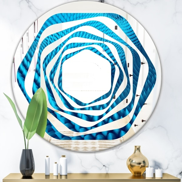 Designart 'Abstract Blue Wavy II' Modern Round or Oval Wall Mirror - Whirl