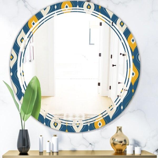 Designart 'Retro Abstract Pattern II' Modern Round or Oval Wall Mirror - Triple C