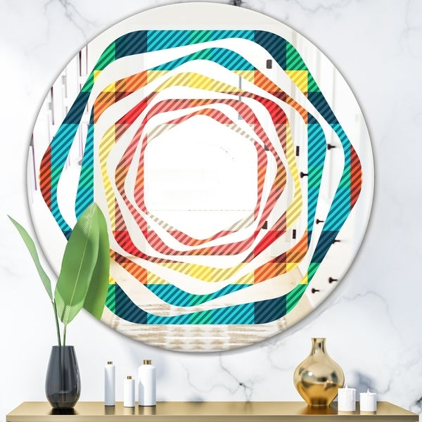 Designart 'Tartan Geometrical Texture III' Modern Round or Oval Wall Mirror - Whirl